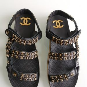 Chanel current season sandal with gold chains